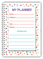 PERSONALISED KIDS DAILY PLANNER/MY FIRST PLANNER CHILDREN/A5 HOME SCHOOLING WORK 03